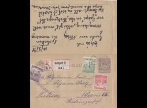 Ungarn: 1918: Einschreiben Budapest nach Wien