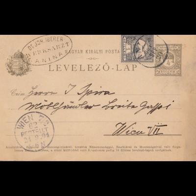 Ungarn: 1901: Ganzsache Anina nach Wien