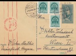 Ungarn: 1940: Ganzsache nach Wien mit OKW Zensur