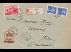 Ungarn: 1939: Einschreiben Budapest nach Wien