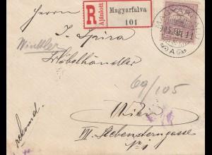 Ungarn: 1905: Einschreiben Magyarfalva naach Wien