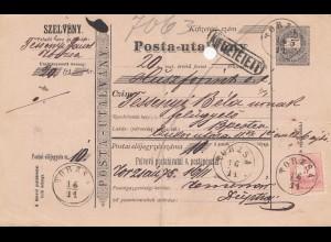 Ungarn: 1875: Paketkarte Torzsa