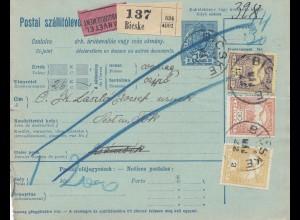Ungarn: 1916: Paketkarte Bieske Nachnahme