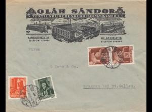 Ungarn: 1942: Brief von Budapest nach Bruggen/Schweiz, Zensur