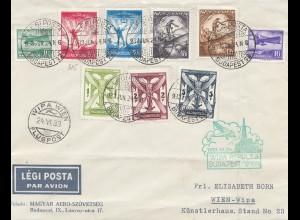 Ungarn: 1933: Luftpost WIPA Wien von Budapest