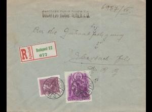 Ungarn: 1938: Einschreiben Budapest nach Ebersbach/Fils
