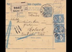 Ungarn: 1916: Paketkarte Budapest nach Szolnok