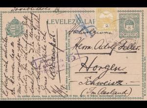 Ungarn: 1915: Ganzsache in die Schweiz, Zensuriert