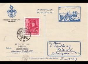 Ungarn: 1935: Debrecen nach Finnland