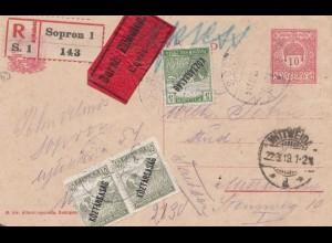 Ungarn: 1919: Ganzsache Einschreiben Eilboten Sopron