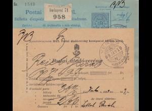 1899: Postanweisung Verbo, Perfin bei 2 Marken unter Blatt