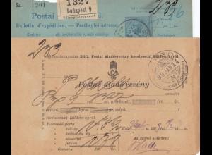 Ungarn: 1899: Postanweisung Verbo, Perfin bei 2 Marken unter Blatt