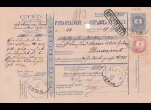 Ungarn: 1876: Postanweisung nach Budapest