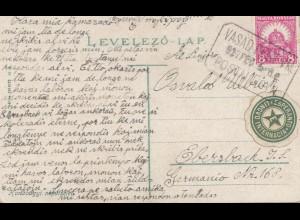 Ungarn: 1927: Ansichtskarte mit Esperanto Vignette nach Ebersbach