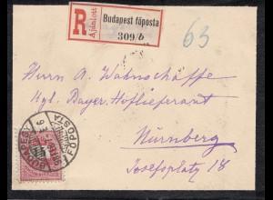 Ungarn: 1898: Trauerbrief als Einschreiben Budapest-Nürnberg