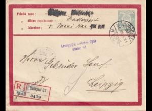 Ungarn: 1914: Budapest Ganzsache als Einschreiben nach Leipzig