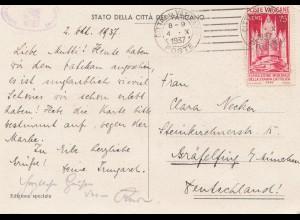 Vatikan: 1937: Ansichtskarte nach Gräfelfing