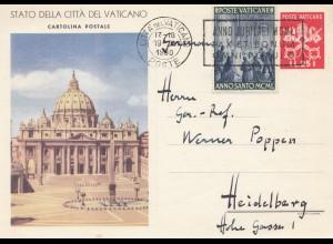 Vatikan: 1950. Ganzsache nach Heidelberg