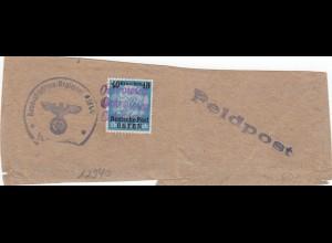 GG: zollfreie Monatssendung, Päckchenausschnitt über Feldpost eingeliefert