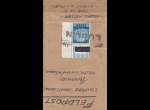 GG: zollfreie Monatssendung Päckchenausschnitt über Feldpost/Lublin eingeliefert