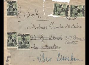 GG: portogerechter Brief nach USA mit dt. und US Zensur über Lissabon