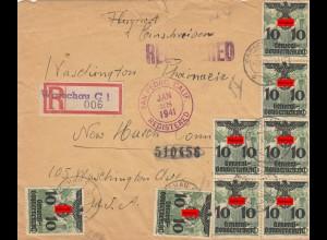 GG: portogerechter R-Brief nach USA mit dt. US Zensur, Ankunft St. Pedro Calif.