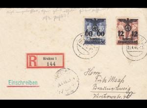 GG: Portogerechte Einschreiben - Postkarte von Krakau nach Braunschweig