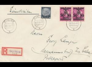 GG: Portogerechter Einschreibebrief von Gorlice nach Hermansburg, 2. Gew. Stufe