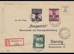 GG: portogerechte Drucksache als Einschreiben, Warschau nach Danzig