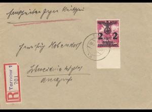 GG:R-Rückschein, portogerecht von Tarnow; 60R, 50 Porto, 30 für 20g plus,60 Rück