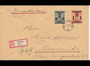 GG: Einschreiben Sokolow nach Dresden, 2. Gew. Stufe, portogerecht
