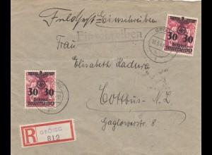 GG: Feldpost mit Zusatzfrankatur Einschreiben, Grojec nach Cottbus