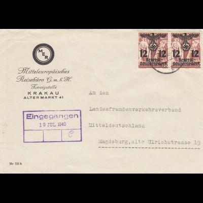 GG: Brief Reisebüro Krakau nach Magdeburg, MeF, enger Abstand