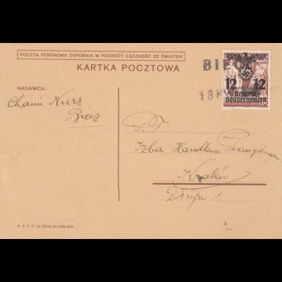 GG: Postkarte Einzelfrankatur Biece nach Krakau
