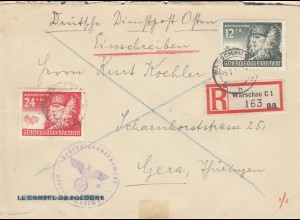 GG: MiF Marken MiNr. 59,60 auf Einschreiben Warschau nach Gera