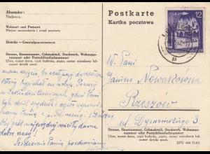 GG: Postkarte mit 12Gr. von Lemberg nach Rzeszow