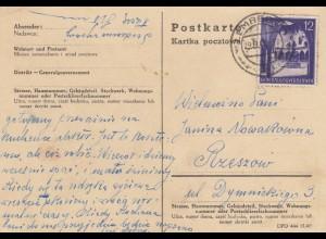GG: Postkarte mit 12Gr. von Lemberg nach Rzeszow 1942