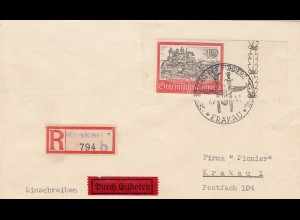 GG: Brief 10Zloty als Einschreiben/Eilboten mit Sonderstempel Geburtstag Führer