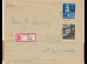 GG: Einschreiben Warschau auf Brief nach Bern mit Zensur, portogerecht