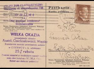 GG: Postkarte als Drucksache von Warschau portogerecht