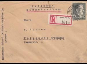 GG: Einschreiben Feldpost Krakau nach Falkensee, portogerecht