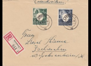 GG: MiF 4Gr. überfrankiert als Einschreiben Postamt Lemberg nach Grossenhain