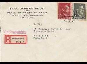 GG: MiF Einschreiben Warschau nach Krakau, staatl. Getreidewerke, Riss links