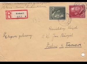 GG: MiF Einschreiben Krakau nach Zabno/Tarnow