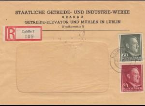 GG: MiF Einschreiben staatl. Getreidewerke Lublin, portogerecht, Mühlen
