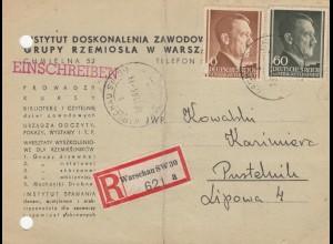 GG: MiF Einschreiben Postkarte Warschau nach Pustelnik, portogerecht