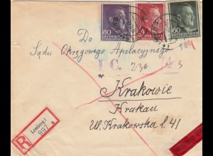 GG: Einschreiben/Eilbote Lemberg nach Krakau, portogerecht