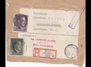 GG: Adressteil Einschreiben Päckchen Kielce nach Heilbronn, portogerecht