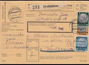 GG Inlandspaketkarte Hrubieszow nach Warschau, BPP Signatur