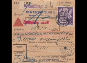 GG Inlandspaketkarte Warschau Nachnahme nach Kielce, Lagergebühr -Einzeiler